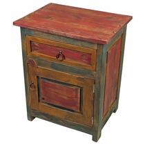 Carved Mexican Painted Wood Nighstand - 1 Door and 1 Drawer