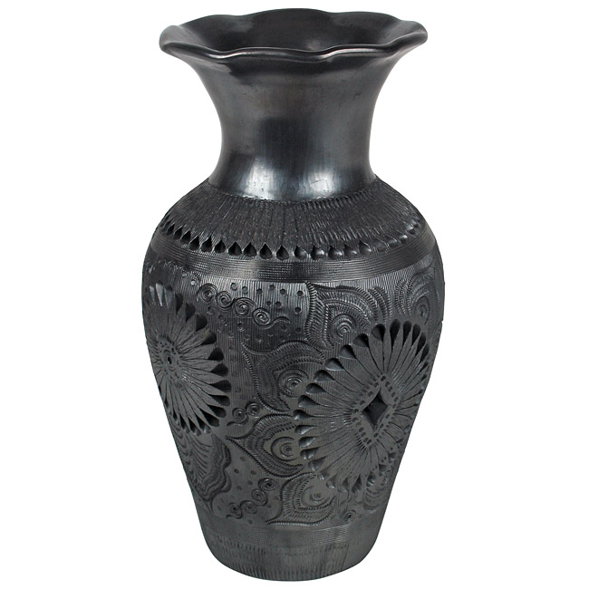 Carved Oaxacan Black Clay Vase With Flaired Top