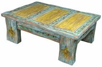 Carved Painted Wood Coffee Table
