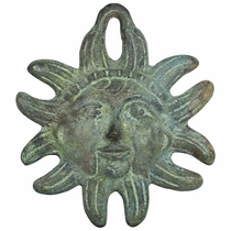 "Cast Bronze Mexican Sun Wall Decoration 4"" Dia."