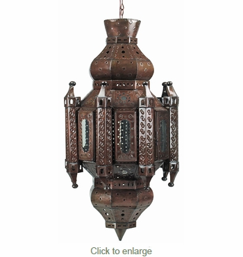 Cathedral Aged Tin and Glass Hanging Light Fixture