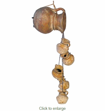 Clay Pitcher with Dangling Pitchers on Rope