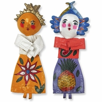 Set of 2 - Mexican Folk Art Coconut Dolls - Assorted