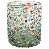 Confetti Pebbled Mexican Rocks Glass  - Set of 4