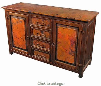 Copper and Old Wood Rustic Buffet - 2 Doors and 4 Drawers