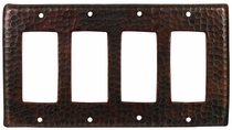 Copper Switchplate Hammered Finish - Quad Rocker