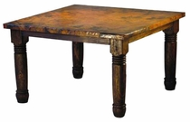 Copper Top Counter Height Farmhouse Dining Table