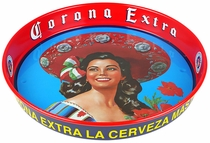 Corona Extra Beer Tray - Victoria with Sombrero - Set of 2