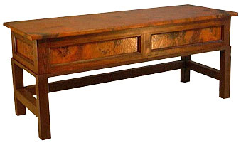 Country Foot of Bed Bench with Copper Lift Top