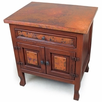 Country Nightstand with Copper