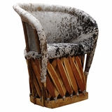 Cowhide Traditional Barrel Chair   Cushioned