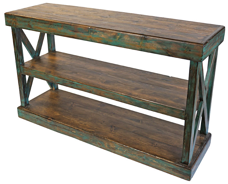 Crossbar 3 Level Painted Wood Rustic Sofa Table
