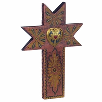 Crown Painted Wood Cross