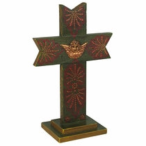 Crown Painted Wood Cross with Base