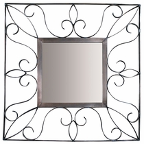Curled Natural Tin Square Mirror