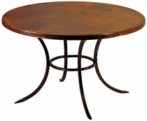 Curved Leg Copper Top Bistro or Dining Table