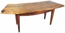Curved Mesquite Desk Table with Turquoise