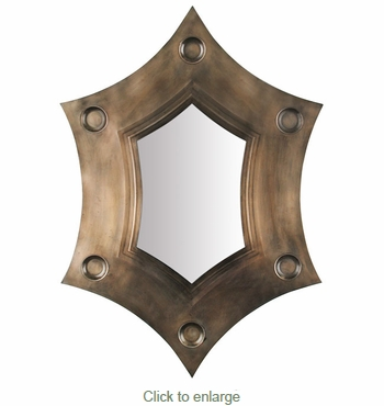 Curvy 6 Point Aged Tin Mirror with Dimples