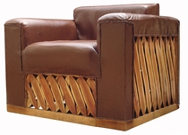 Cushioned Leather Arm Chair