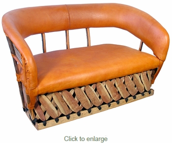Cushioned Pigskin Loveseat