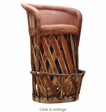 Traditional Mexican Equipale Bar Stool - Cushioned Seat