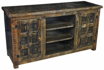 Dark Painted Wood Entertainment Console