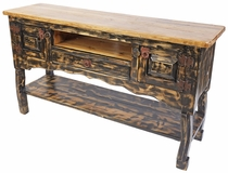 Dark Painted Wood Entertainment Console with 2 Doors, 1 Drawer and Shelf