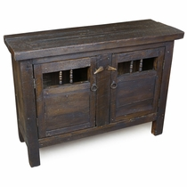 Dark Rustic Old Wood Console with 2 Doors
