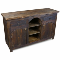 Dark Rustic Wood Console with 2 Doors and 2 Drawers