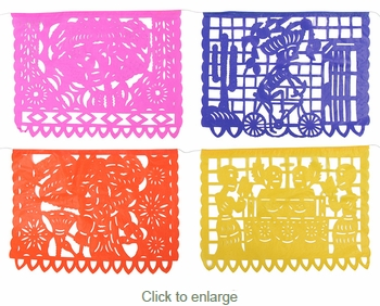 Day of the Dead Paper Picado Banner - Horizontal - Set of 2