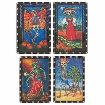 Day of the Dead Skelton Scene Refrigerator Magnets - Set of 4