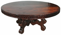 Distressed Mesquite Carved Round Dining Table with Curvy Base