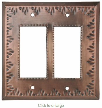 Double Rocker Mexican Tin Switchplate - Flower