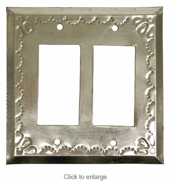 Double Rocker Natural Tin Switchplate - Star