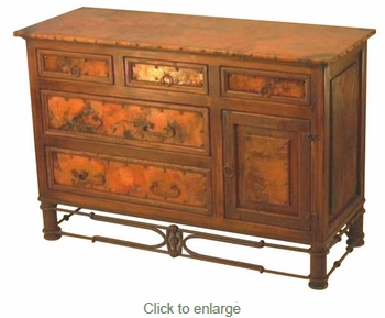 Dresser with copper and Pablo Iron Base