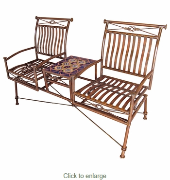 Dual Iron Rocking Chairs with Talavera Tile Table - Blue Tile