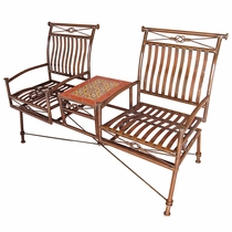 Dual Iron Rocking Chairs with Talavera Tile Table - Orange Tile