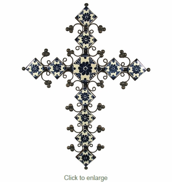 Elaborate Blue & White Talavera Tile Iron Cross