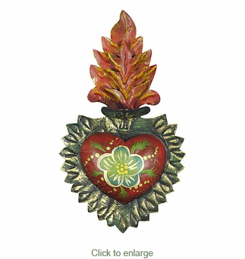Mexican Painted Tin Flaming Sacred Heart Wall Decoration 5