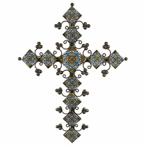 Elaborate Multi-Color Talavera Tile Iron Cross
