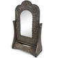 Embossed Aged Tin Swivel Vanity Mirror