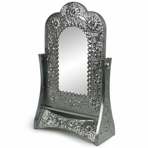Embossed Natural Tin Swivel Vanity Mirror