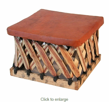 Square Mexican Equipal Footstool - 21