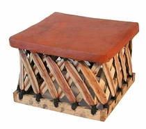 Square Mexican Equipal Footstool - 21""