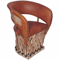 Equipale Barrel Chair with Twig Back - Cushioned