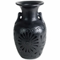 Etched Black Clay Oaxacan Vase with Handles