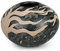 Etched Mata Ortiz Pot Tree and Wildlife