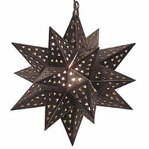 "Extra Large 24"" Aged Tin Hanging Star Light"