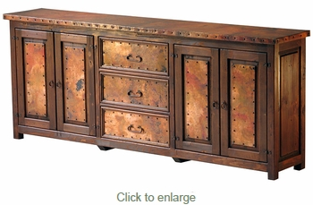 Extra Large Copper and Old Wood Buffet