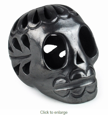 Extra Mini Black Clay Skull